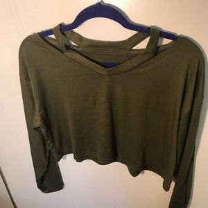 Olive Green Cut Out Top